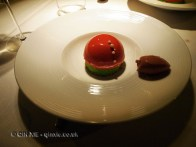 Sudashi cream in pistachio cake, raspberry gel with strawberry sorbet and chocolate mousse, Riberach, Belesta