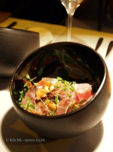 Chicken risotto with ham, girolles, figs, hazelnuts and coriander shoots, Riberach, Belesta