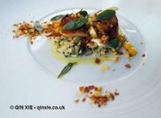 Scallops with curried granola, cauliflower salad, apple caramel, raisin and sea herbs, Ormer by Shaun Rankin, Jersey