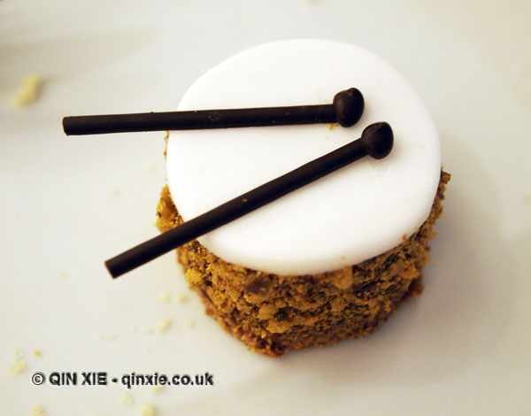 Dark chocolate drum dusted with gold and walnut powder, Christmas Afternoon Tea at Wellington Lounge