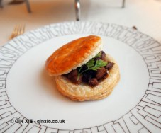 Warm Mountbatten estate partridge, morel mushroom and foie gras pie, Christmas Afternoon Tea at Wellington Lounge