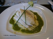 Roast pike perch, potato salad, basil sauce, Finnish cooking with Tomi Laurila, Helsinki