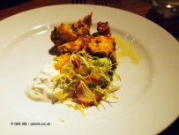 Tandoori chicken with holy basil and cucumber raita, NYE 2013, Cinnamon Kitchen