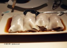 Striploin beef with enoki mushroom cheung fun, Chinese New Year at Yauatcha, London