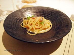 """Bread"" spaghetti with anchovy and burrata, Enoteca Pinchiorri, Florence"