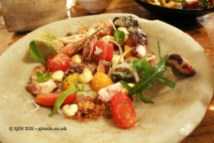 Galician octopus, tomatoes, fried bread, roof top herbs, The Dairy, Clapham