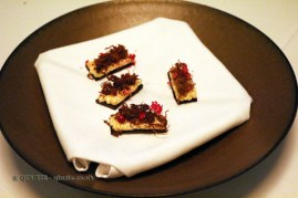 Reindeer blood bread, dried reindeer, lingonberry, roe, Gastrologik, Stockholm