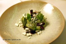Sorrel sorbet, juniper meringue, charred pickled cucumber, sorrel leaves, Gastrologik, Stockholm