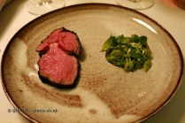 Veal steak, nettle sauce, butter jus, wild garlic flowers, Gastrologik, Stockholm