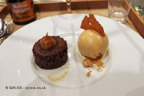 Bake wild chocolate from Bolivia, toffee ice cream, sour cream and nuts, Matbaren, Stockholm, Sweden