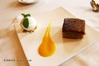 Santiago tart with lemon sorbet and mango sauce, Restaurant Martin by Martin Berasatgui, Shanghai