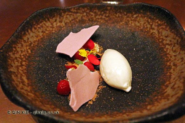 Yoghurt sorbet, malt, blackberry, raspberry, blueberry, mint, Saltvand at Henkes, Shanghai