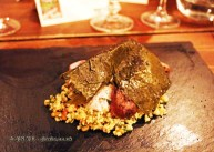 Barbecued lamb chump, violet mustard & pickled vine leaves, Mount Gay rum Storied Supper at Dabbous, London
