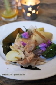 Braised squid, padron peppers, wine-braised kombu, bonito, pickled potatoes, James Ramsden's Secret Larder Supper Club