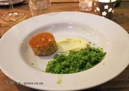 Green granita, chevre ganache, brown butter financier, James Ramsden's Secret Larder Supper Club