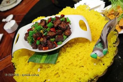 Honeycomb rice chicken, Kuan Alley No 3, Chengdu, China