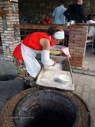 Kneading dough for tone bread in Georgia