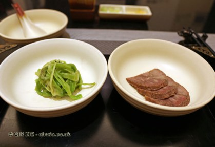 Zhao Ji's crunchy bamboo - pickled vegetable salad and Lu Buwei style beef with orange peel, Qin Restaurant of Real Love, Xian, China