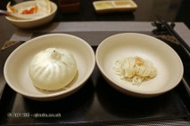 Steamed pork buns and noodles with garlic, Qin Restaurant of Real Love, Xian, China