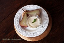 Passito poached spiced pears with vanilla panna cotta and crumble, Christmas 2014, Chez Xie