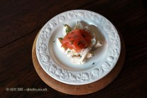 Smoked salmon, new potatoes, soured cream and dill, Christmas 2014, Chez Xie