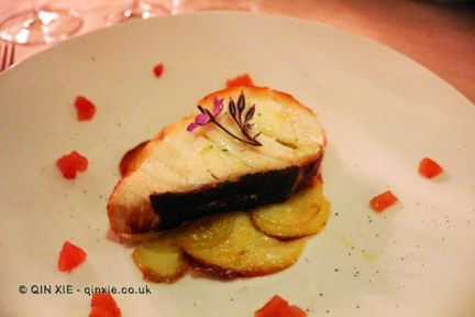 Slice of wild morone on crisp potatoes, Osteria Cantine Cattaneo, Sestri Levante