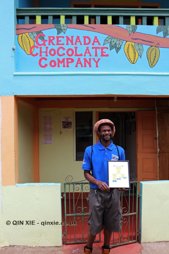 Edmund Brown outside Grenada Chocolate Company