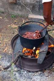 Roasting cocoa beans, Crayfish Bay, Grenada