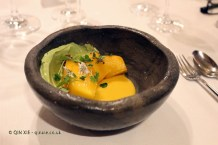 Tree ripened mango, cold curry, seeds and herbs (Ricard Camarena), #AtxaAndreRicard at Azurmendi, Larrabetzu