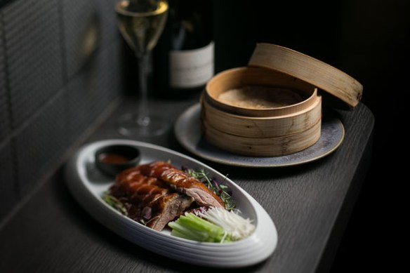HKK's Cherry wood duck with pancakes