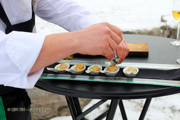 Cold smoked scallops being prepared at Inniskillin