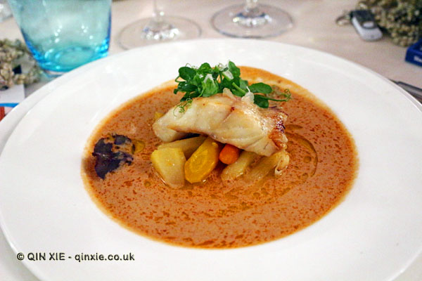 Hot glazed grouper with carrots and coconut, James Beard American Restaurant, Milan