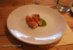 Langoustines, chicken and basil emulsions, Oswaldo Oliva at Carousel