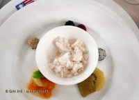 Salad of fruit with sorbetto of coconut water and almond milk, James Beard American Restaurant, Milan