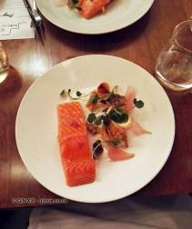 Slow cooked salmon, horseradish cream, watercress, Cuisson popdown