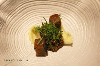 Stewed wheat with farmhouse milk emulsion and ox tail, Azurmendi