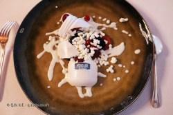 The broke jar of yoghurt, gatzatua and berries at Pedro Subijana Akelarre, San Sebastian
