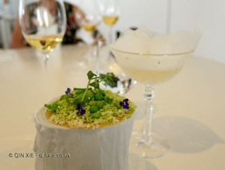 Coca of peas and onions in apple vinegar and green grapes and mezcal, Quique Dacosta, Denia