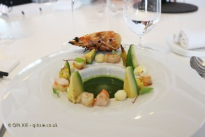 Langoustine on the grill, green curry, avocado and corn, Quique Dacosta, Denia
