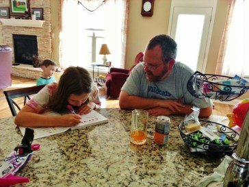 Sparkles and Shannon working on math together