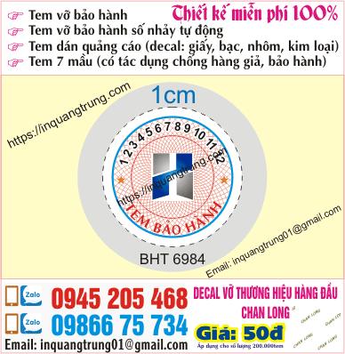 In tem bảo hành tại Đà Nẵng