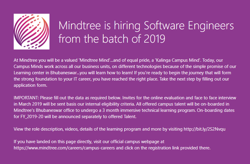 Mindtree Off Campus Requirement 2019 batch hiring Software Engineers