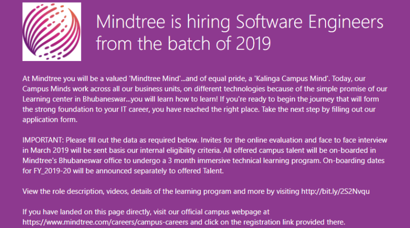 MindTree is Conducting Off Campus Drive for 2019 Pass outs. Mindtree Off Campus Requirement 2019 batch.Eligiblity,Result,salary.