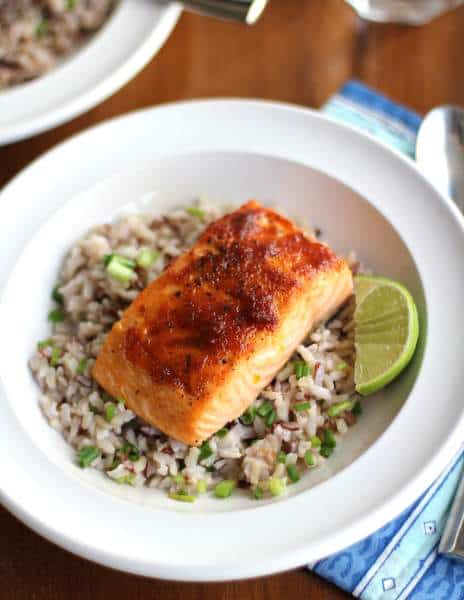Red Curry Salmon with Coconut Brown Rice