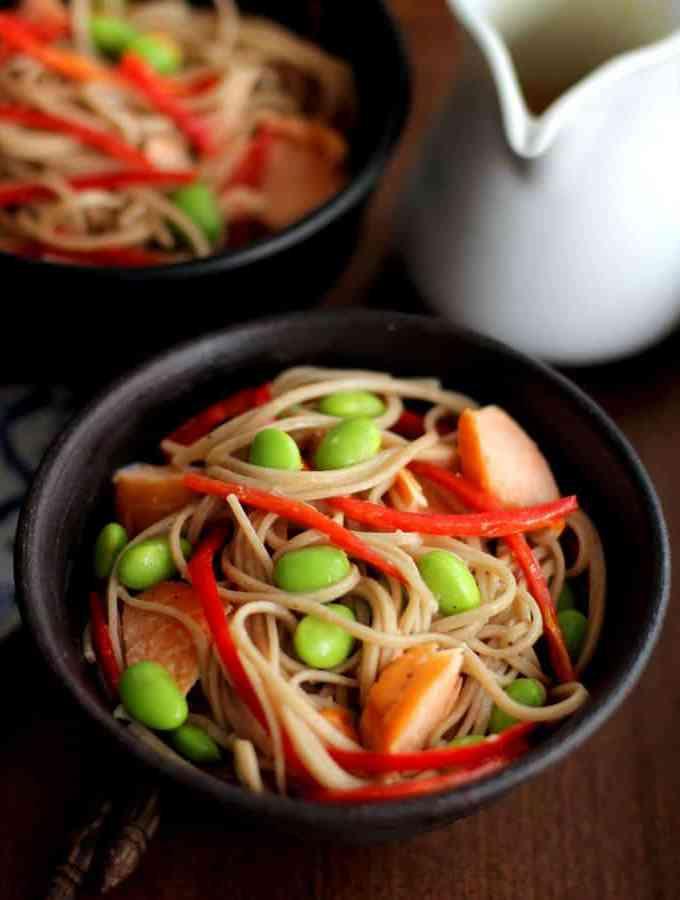 Salmon and Edamame Soba Noodles with Miso Vinaigrette