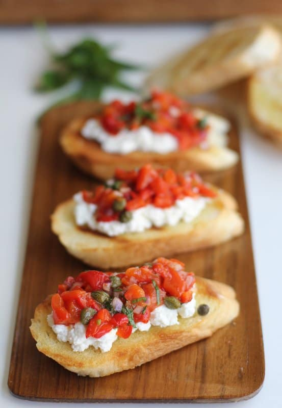 Roasted Red Pepper and Ricotta Bruschetta