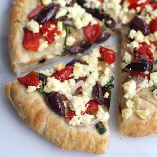 Greek Pizza with Feta, Spinach and Olives