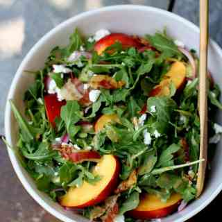 Nectarine, Arugula and Crispy Pancetta Summer Salad