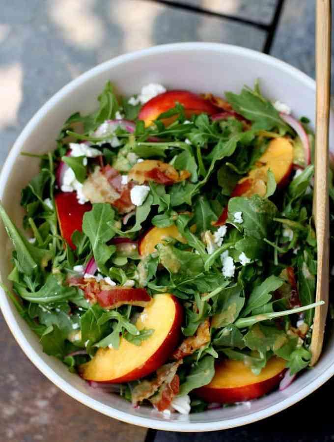 Nectarine, Arugula and Crispy Pancetta Summer Salad