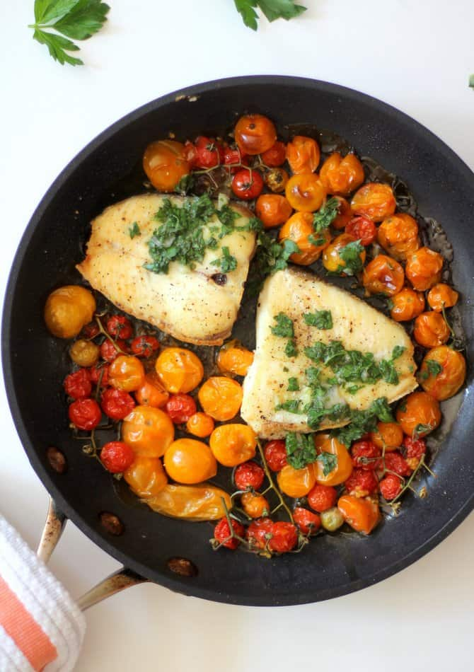 Slow Roasted Halibut with Burst Tomatoes